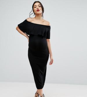 ASOS Maternity Платье-футляр миди для беременных с оборкой TALL. Цвет: черный