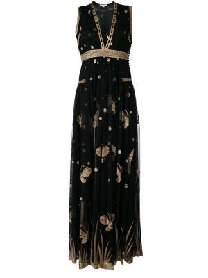 Платье с растительным принтом Diane Von Furstenberg. Цвет: чёрный