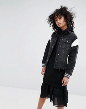 AllSaints Спортивная куртка в винтажном стиле. Цвет: черный