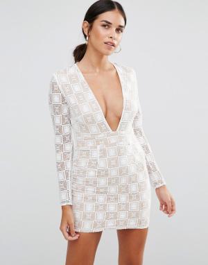 Rare Кружевное платье мини с длинными рукавами и декольте. Цвет: белый