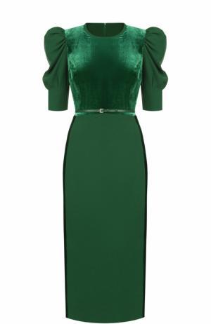 Приталенное платье-миди с объемными рукавами Elie Saab. Цвет: зеленый