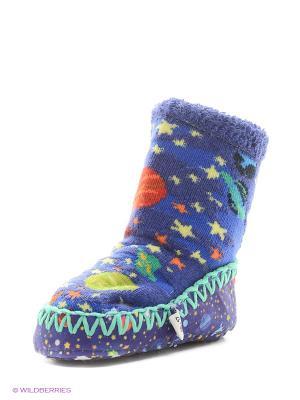 Тапочки-носки противоскользящие BROSS. Цвет: синий, зеленый