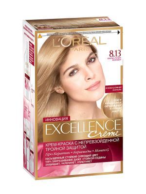 Стойкая крем-краска для волос Excellence, оттенок 8.13, Светло-русый бежевый L'Oreal Paris. Цвет: бежевый