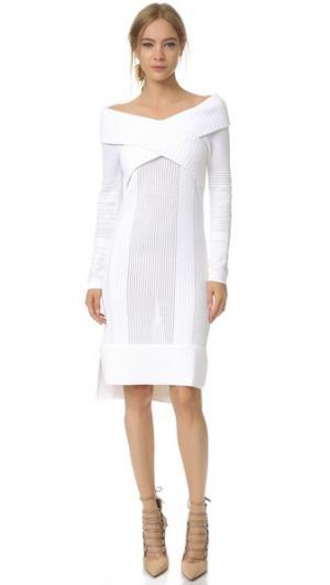 Платье с открытыми плечами и длинными рукавами Prabal Gurung. Цвет: белый