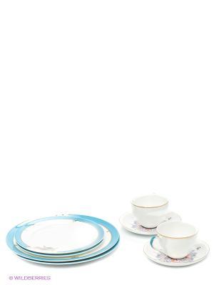 Чайный набор на 2 перс. Песня Мотылька (Canzone Falena Pavone) Pavone. Цвет: белый, голубой, золотистый