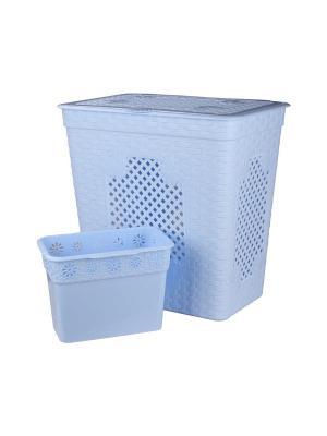Корзина со вставкой Плетёнка люкс 85л. (голубой) Альтернатива. Цвет: голубой