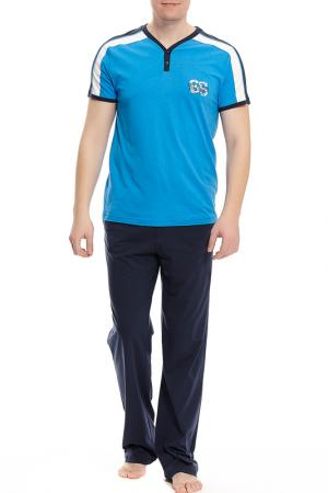 Пижама с брюками Relax Mode. Цвет: синий, красный