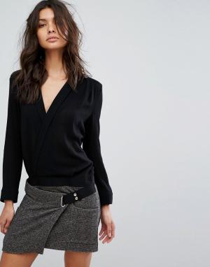 BA&SH Платье с контрастным лифом и юбкой. Цвет: кремовый