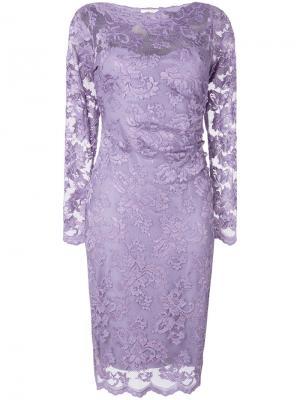 Кружевное приталенное платье Olvi´S. Цвет: розовый и фиолетовый