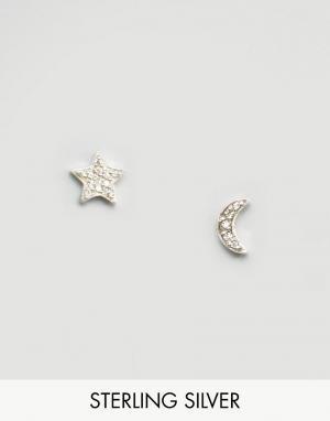 Fashionology Серебряные серьги в форме месяца и звезды. Цвет: серебряный