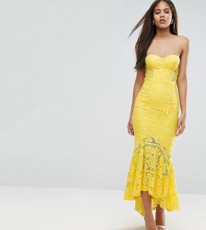 Jarlo Tall Кружевное платье-бандо миди. Цвет: желтый