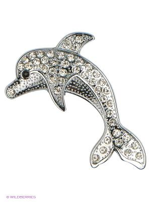 Наклейка металлическая 3D Дельфин серебряный N26  WIIIX. Цвет: серебристый