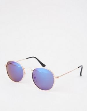 AJ Morgan Круглые солнцезащитные очки с синими стеклами. Цвет: золотой