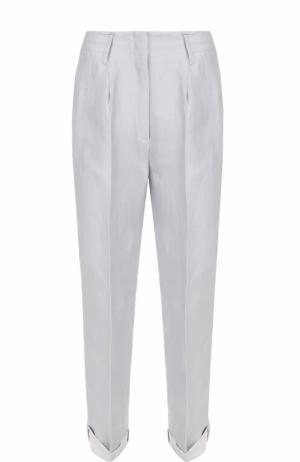 Льняные укороченные брюки со стрелками Dorothee Schumacher. Цвет: голубой