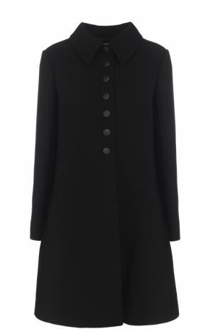 Расклешенные шерстяное пальто с отложным воротником Alaia. Цвет: черный