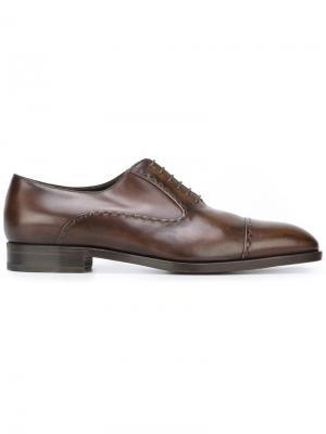 Туфли оксфорды с декоративной строчкой Fratelli Rossetti. Цвет: коричневый