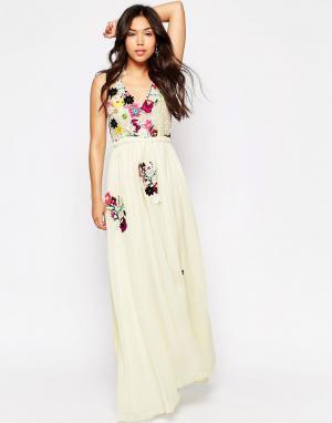 Meghan Fabulous Платье-макси цвета слоновой кости Fiji. Цвет: бежевый