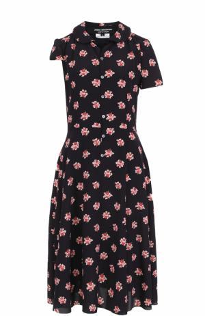Приталенное платье-рубашка с цветочным принтом Junya Watanabe. Цвет: черный