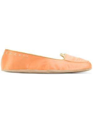 Тапочки Cat Nap Charlotte Olympia. Цвет: жёлтый и оранжевый
