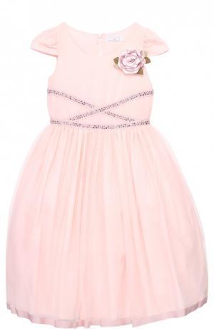 Приталенное платье с коротким рукавом и брошью Monnalisa. Цвет: розовый