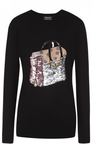 Пуловер прямого кроя с вышивкой пайетками Markus Lupfer. Цвет: черный