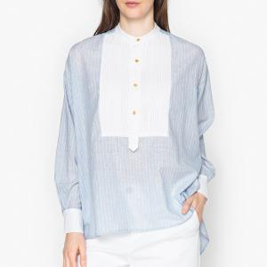 Блузка с галстуком-бантом и длинными рукавами PILLAR LAURENCE BRAS. Цвет: синий/ белый