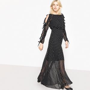 Платье длинное в горошек с красивыми рукавами MADEMOISELLE R. Цвет: в горошек черный/белый