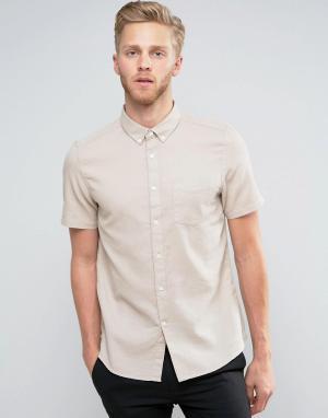 Burton Menswear Приталенная рубашка с короткими рукавами и вафельной текстурой. Цвет: светло-бежевый