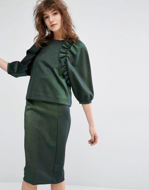 Essentiel Antwerp Топ с рюшами в стиле ретро. Цвет: зеленый