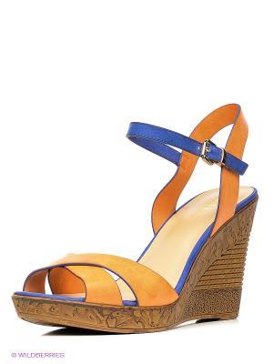 Босоножки INARIO. Цвет: оранжевый, синий, коричневый
