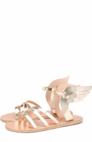Сандалии Ikaria из металлизированной кожи с декором Ancient Greek Sandals. Цвет: золотой