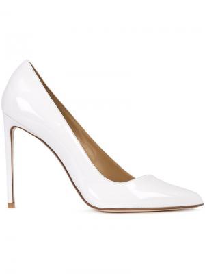 Туфли-лодочки с диагональным срезом Francesco Russo. Цвет: белый