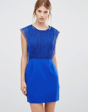 Greylin Платье с кружевной отделкой Esme. Цвет: синий