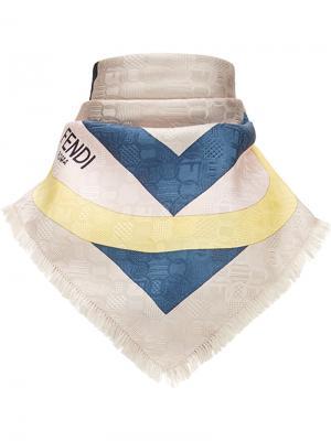 Платок с геометрическим принтом логотипом Fendi. Цвет: многоцветный