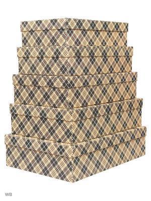 Набор из 5 картонных коробок Классическая клетка VELD-CO. Цвет: оливковый