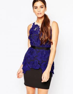 Adelyn Rae Платье с кружевной аппликацией. Цвет: синий