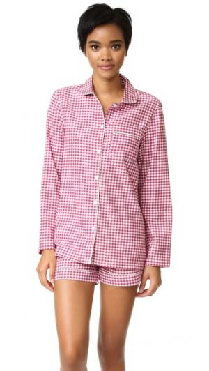 Пижама Phoebe с шортами Three J NYC. Цвет: бордовый в клетку гингем/белый