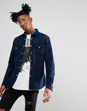 ASOS Темно-синяя приталенная джинсовая рубашка в стиле вестерн. Цвет: темно-синий