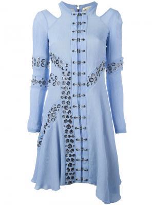 Платье с люверсами Antonio Berardi. Цвет: синий