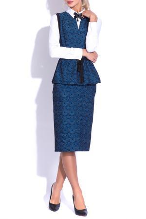 Костюм: жилет, юбка CLEVER woman studio. Цвет: синий