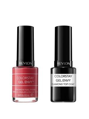Revlon Набор: 010 гель-лак colorstay gel envy pocket aces 070-130 + верхнее покрытие. Цвет: красный