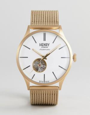 Henry London Золотистые часы с сетчатым ремешком Automatic. Цвет: золотой
