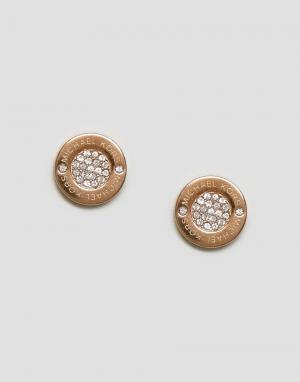 Michael Kors Золотисто-розовые серьги-гвоздики с кольцом. Цвет: золотой
