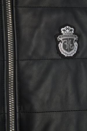 Утепленный кожаный жилет Billionaire. Цвет: черный