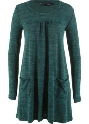 Трикотажное платье меланжевого дизайна с длинным рукавом (насыщенный зеленый/черный меланж) bonprix. Цвет: насыщенный зеленый/черный меланж