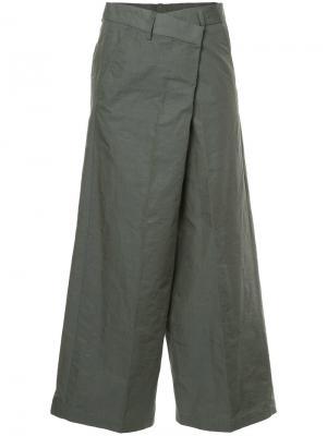 Укороченные широкие брюки 08Sircus. Цвет: серый