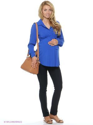 Блузка для беременных и кормящих ФЭСТ. Цвет: синий