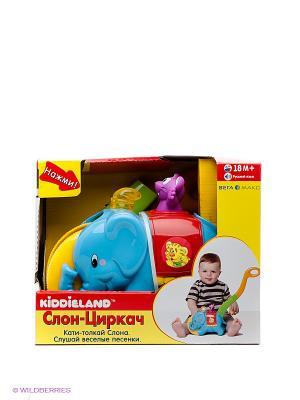 Игровая каталка с ручкой Слон-циркач Kiddieland. Цвет: синий, красный
