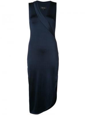 Облегающее платье с V-образным вырезом Cushnie Et Ochs. Цвет: синий