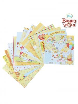 Набор бумаги для скрапбукинга День Рождения - самый лучший день, Медвежонок Винни и его друзья Disney. Цвет: светло-голубой, горчичный, малиновый, оранжевый, персиковый, светло-бежевый, светло-коралловый